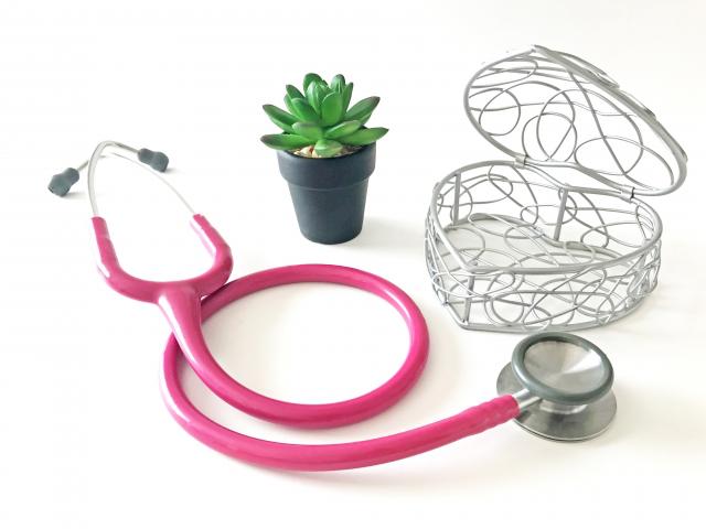 聴診器と観葉植物